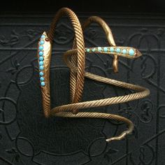 Antique Snake Bracelet  Gilt Egyptian Silver  by TheDeeps on Etsy, $420.00