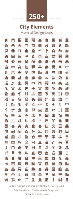 250+ City Elements Material Icons. Download here…