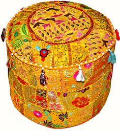 Bohemian Patchwork Pouf Ottoman Vintage Indian by JaipurHandloom, $49.99