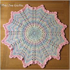 Sweet star shape crocheted baby blanket pastels by PinkLimeCrafts