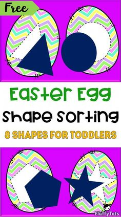 Easter Shape Sorting Activity : 8 Amazing Shapes To Be Sorted - FluffyTots Easter Activities For Preschool, Eyfs Activities, Sorting Activities, Preschool Lessons, Toddler Preschool, Preschool Eggs, Creations, At Least, Egg Shape