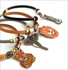 Collection  SAFARI - Cuir épais, céramique et pendentif animaux d'Afrique - sur mesure