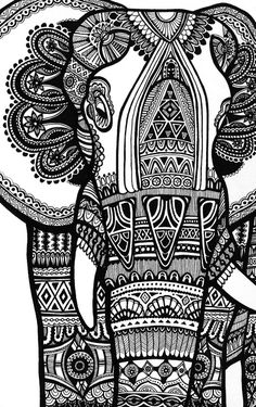 Free coloring page coloring-elephant-te-print-for-free. A magnificien elephant drawn with zentangle patterns FROM Coloring Pages for adults Elephant Art, Elephant Sculpture, Zentangle Elephant, Zentangle Animal, Henna Elephant, Elephant Doodle, Mandala Elephant, Adult Coloring Pages, Black And White