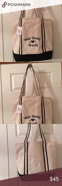 Classic Walt Disney World canvas tote. New Brand new with tags. Large tote with long handles and a key ring inside. Non-smoking home. Walt Disney World Bags Totes
