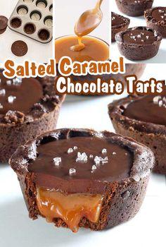 Salted Caramel Chocolate Tart, Chocolate Ganache, Mini Chocolate Tarts, Chocolate Desert Recipes, Salted Caramel Desserts, Non Chocolate Desserts, Chocolate Dipped Fruit, Caramel Brownies, Chocolate Cookie Recipes