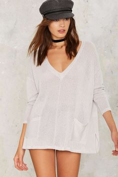 Pocket to the Moon Plunging Sweater   Shop Clothes at Nasty Gal!
