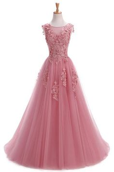 Robe De Soiree Evening Dresses Long Plus Size Tulle Prom Lace Up Beaded Gown Vestido De Festa Elie Saab Abendkleider 2017 Abiye Evening Dress Patterns, Evening Dresses With Sleeves, Evening Dresses Plus Size, Quince Dresses, Pink Prom Dresses, Beaded Gown, Beaded Dresses, Curvy Dress, Sequin Party Dress