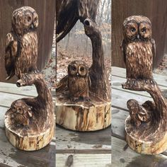 Owls Wood Carving Handmade Woodworking Chainsaw by JoshCarteArt