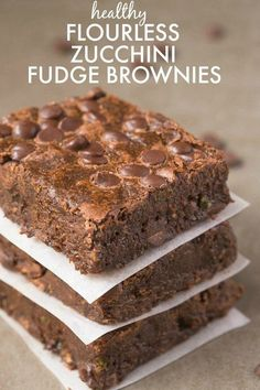 Healthy Flourless Zucchini Fudge Brownies made with NO butter and NO flour and ridiculously easy- Hands down, BEST brownies ever! {vegan, gluten free, paleo recipe}- http://thebigmansworld.com
