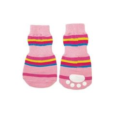 Protect your princess's precious little paws from cold and slippery floors with these darling dog socks! Cotton spandex Anti-skid pad on bottom Machine washable Why We Love It: As cute as it can be, sliding around on slippery floors can be dangerous for a little pooch! These Pink Striped Slipper Dog Socks by Fashion Pet …