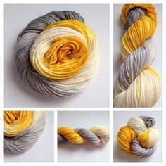 CAUTION ~ 2 left, Colors: golden yellow, cream, gray (I use only professional grade dyes) Yards:  - 230 yardsWeight: worsted weight (a bit on the bulky side, IMO)Fiber: superwash merino Care instructions: machine wash gentle cycle, lay flat to dry