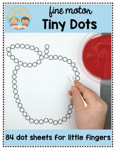 Tiny dots sheets for fine motor skills practice!Design by Shelley Lovett © 2017 All Rights Reserved Preschool Fine Motor Skills, Motor Skills Activities, Toddler Learning Activities, Montessori Activities, Preschool Lessons, Preschool Writing, Dementia Activities, Physical Activities, Apple Activities Kindergarten