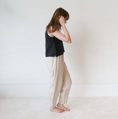 """Soft vintage linen pants. Worn, loved and perfectly faded. -     -Outseam 37"""", Inseam 26.5"""", Waist 28"""" adjustable   - Model is 5'8"""" and typically fits a size 26 pant."""