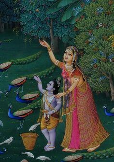 Jashoda with Krishna Yashoda Krishna, Krishna Leela, Radha Krishna Images, Radha Krishna Love, Shree Krishna, Lord Krishna, Hanuman, Pichwai Paintings, Indian Paintings