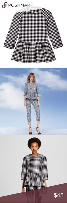 NWT - Victoria Beckham Gingham Print Peplum Top Victoria Beckham for Target Collection Blue and White Gingham Twill Peplum Blouse Top - NWT - perfect for fall - cotton blend - rare HTF Victoria Beckham for Target Tops