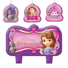 Top your Sofia the First cake with this beautiful pink and purple birthday candle set featuring your favorite Princess in Training. Includes 4 molded Sofia the First candles that say Happy Birthday.