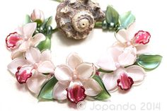 JOPANDA lampwork Beads handmade SRA - Orchid Vintage Pink