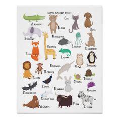Animal poster A to Z  -- zazzle.com