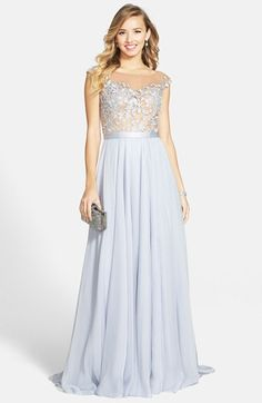 Free shipping and returns on Sherri Hill Cap Sleeve Lace & Chiffon Gown at Nordstrom.com. An illusion bodice wrapped in leafy lace and sparked with twinkling crystals is a stunning start for an entirely romantic gown of cobalt blue. A satin band polishes the waist before the ethereal chiffon skirt floats to a dramatic finish.