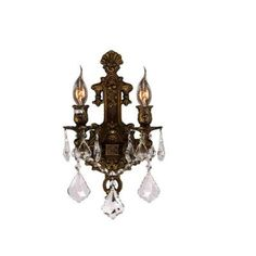 Versailles Collection 2-Light Antique Bronze Crystal Wall Sconce $108