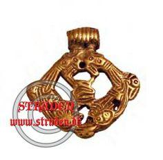 En amulet fra vikingetiden lavet i bronze.  Lavet efter et fund fra Sverige.  Bredde: ca. 2.0 cm