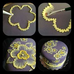 brush embroidery cake with yellow flowers Brush embroidery: a cake decorating technique that is so elegant, and so easy! You'll simply an already-covered cake, a paintbrush, and some thinned buttercream icing in an icing bag (the sma… Pretty Cakes, Beautiful Cakes, Amazing Cakes, Beautiful Flowers, Decoration Patisserie, Dessert Decoration, Cookie Cake Decorations, Flower Decorations, Cake Decorating Tips