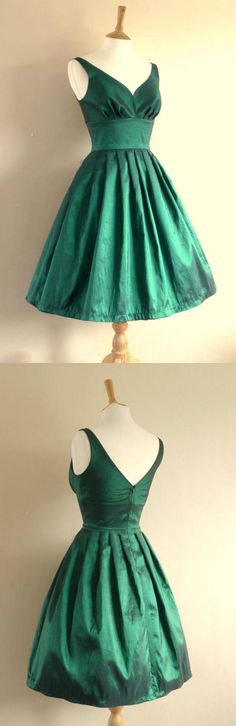 Pleated Homecoming Dresses, Green A-line/Princess Homecoming Dresses, Short Green Homecoming Dresses, V-neck Short Handmade Pretty Green Homecoming Dresses Photos Of Dresses, Dresses For Teens, Trendy Dresses, Casual Dresses, Formal Dresses, Green Homecoming Dresses, Cheap Short Prom Dresses, A Line Prom Dresses, Graduation Dresses