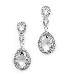 Bruidsoorbellen Crystal Teardrop zilver kristal gevlochten