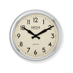 Williams-Sonoma Smiths Retro Wall Clock (290 RON) ❤ liked on Polyvore featuring home, home decor, clocks, european home decor, retro wall clock, retro home decor, retro clock and london wall clock