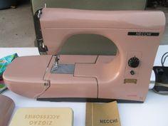 Vintage Elegant Necchi MIRELLA Sewing Machine Pink, With Accessories and Case