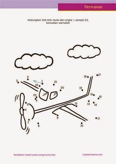 Belajar PAUD : urutan angka dengan lembar permainan dot to dot (menghubungkan titik) sambil mewarnai pesawat