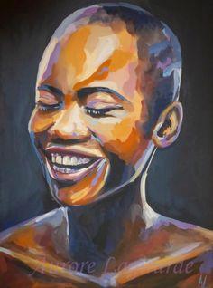 Terre Happy, portrait peinture Nigéria