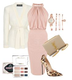"""Pretty in PInk"" by jordan-hansen on Polyvore featuring Balmain, Casadei, Yves Saint Laurent and Anne Klein"