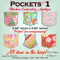 Pockets - NEW SIZE - Machine Embroidery Applique