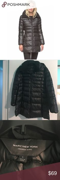 Marc New York by Andrew Marc Eva A shimmery shell highlights a lightweight down coat in a three-quarter-length silhouette that nips in at the waist. Soft microfleece lines the collar and cuffs for an extra touch of cozy warmth. Jackets & Coats