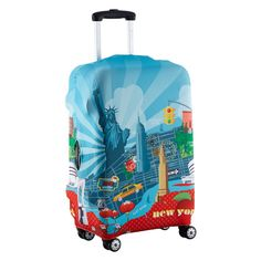 """$25 Urban New York Luggage Cover by .  fits most 24-26"""" tall hard + soft sided luggage. made of water+fade resistant poly + spandex 8 oz. features 4 cutouts to accommodate 2 or 4 wheel luggage wheels, side + top cutout for carry handles. other designs available"""