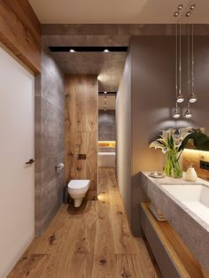 In a bathroom, a single overhead light will cast an unwanted shadow, making it difficult to apply makeup or shave. Bathroom Interior Design, Bathroom Styling, Interior Paint, Modern Bathroom, Small Bathroom, Zen Bathroom, Dream Bathrooms, Bathroom Inspiration, Cheap Home Decor