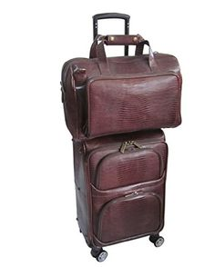 Amerileather Leather Lizard-Print Two Piece Set Traveler on Spinner Wheels ( ( Chestnut Brown) Mens Carry On Bag, Mens Tote Bag, Mens Luggage, Carry On Luggage, Luggage Brands, Luggage Store, Laptop Messenger Bags, Online Bags, Brown Leather