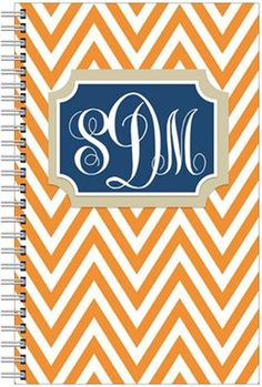 preppy orange navy blue khaki monogrammed notebook binder spiral school zig zag chevron & initials
