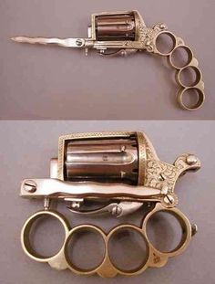By Andrew Liszewski This may look like another steampunk creation cooked up by someone desperately . Read more Bayonet + Brass Knuckles + Handgun = The Apache Cool Guns, Guns And Ammo, Zombie Apocalypse, Apocalypse Survival, Apocalypse Character, Hand Guns, Just In Case, Cool Stuff, Stuff To Buy