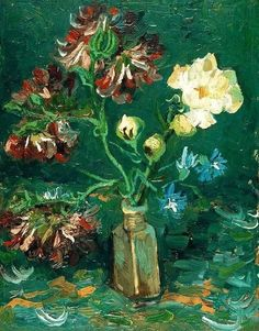 Vincent van Gogh - 'Small Bottle with Peonies and Blue Delphiniums' - (1886)