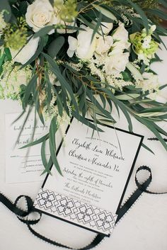 Love these geometric wedding invitations. A Family-Centric Styled Shoot at Virginia's Oatlands Plantation via @limnandlovely