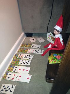 Elf on the Shelf playing Solitaire