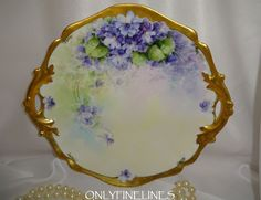 Stunning - Limoges - France - Porcelain - Two Handle Tray - Plate - Hand Painted by Julius H. Brauer Studio - Romantic Victorian Bouquet - Purple African Violets - Ornate Gold Accents - Artist Signed - Circa 1916 - Only Fine Lines