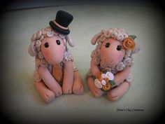 Sheep Wedding Cake Topper ~ by Trina's Clay Creations
