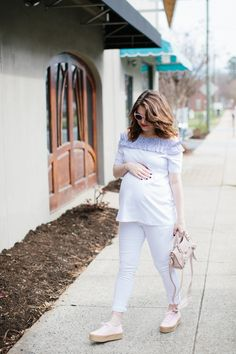 White Off the Shoulder Maternity Top - Polished Closets