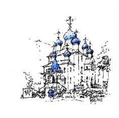 Urban Sketchers Seattle: May 2011 St Spiridon Orthodox Cathedral in fountain pen on a napkin by Frank Ching