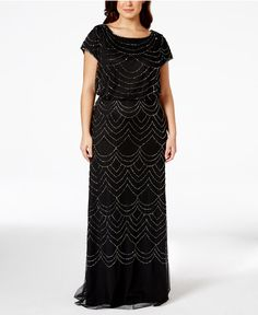 Adrianna Papell Plus Size Cap-Sleeve Beaded Sequin Gown