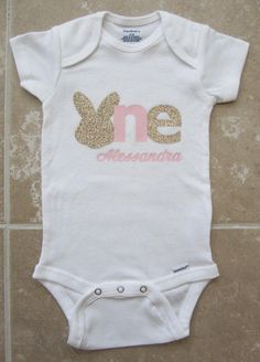 Bunny First Birthday Onesie - gold glitter one, pink gold, baby girl, some bunny is one by noellebydesign on Etsy https://www.etsy.com/listing/271470161/bunny-first-birthday-onesie-gold-glitter