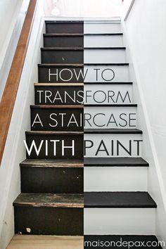 Step by step instructions on how to paint stairs - amazing transformation! maisondepax.com #diy #tutorial